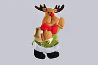 Новогодняя мягкая игрушка из фетра Олень с красным бантом