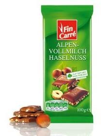 Молочный шоколад с дробленым фундуком Fin Carre, 100 гр