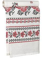 Кухонное льняное полотенце (Белый с красным)
