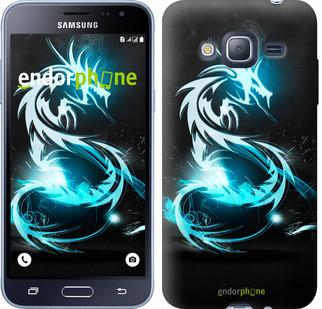 "Чехол на Samsung Galaxy J3 Duos (2016) J320H Бело-голубой огненный дракон ""113c-265"""