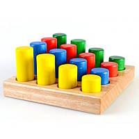 Деревянная игра Сортер цилиндр цвет 16 шт. Ду-42 РУДИ