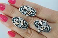Оригинальный серебряный комплект - кольцо и серьги - с золотом и цирконами