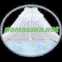 Белый балдахин из сетки с бантом и тесьмой по контуру в детскую кроватку, 450х150 см ТМ Ромашка цвет тесьмы Голубой