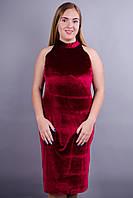 Донна. Стильное платье больших размеров. Бордо.