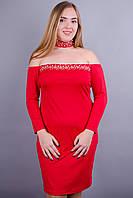 Рафаэла. Нарядное платье больших размеров. Красный.