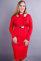 Лиана. Стильное платье больших размеров. Красный., фото 1