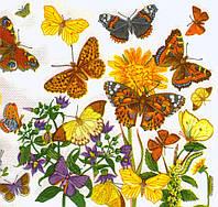 Редкая салфетка Цветы и бабочки 6506