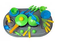 Плита с мойкой и посудой, в кор
