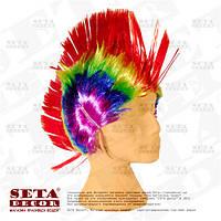"""Яркий разноцветный парик """"Ирокез""""."""