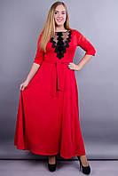 Регина. Нарядное платье больших размеров. Красный., фото 1