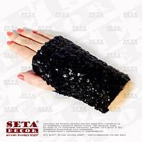 Перчатки митенки чёрные с пайетками, короткие