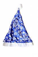 Шапка колпак Деда Мороза синяя