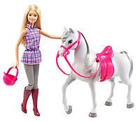 Кукла Барби в клетчатой рубашке с лошадью - набор, серия Прогулка верхом, Barbie, Mattel