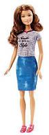 Кукла Барби Модница, в джинсовой юбке и серой футболке, Barbie, Matell, серая футболка, джинсовая юбка