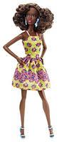 Кукла Барби Модница, в желтом платье, Barbie, Matell, темная кожа, желтое платье с принтом