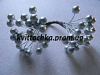 "Ягоды ""Калина"" серебро на проволоке 8 мм."