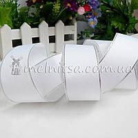 Лента репсовая с серебряным люрексом 40 мм, белая
