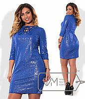 Платье  полуприталенное из трикотажа с 3D рисунком и напылением с корсетной шнуровкой V-выреза  размер 48-54