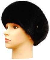 Норковая шапка берет цвет черный