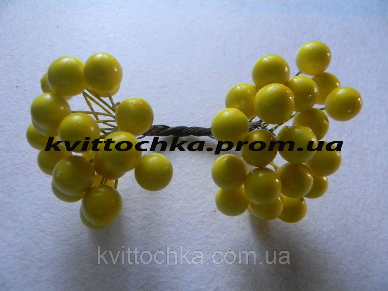 """Ягоды """"Калина"""" желтая на проволоке 12 мм."""