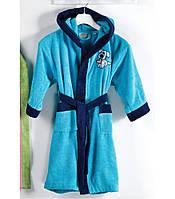 Детский халат ALTINBASAK бирюзовый с синим 8-10 лет.