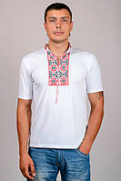 Мужская футболка-вышиванка  (Белый+Красный)