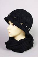 Шапка женская вязанная с шарфом