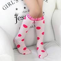 Гольфы - чулки для девочки в крупный горох  Розовый Оптом