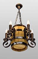 Деревянная люстра бочка подвесная на цепи AR-002837