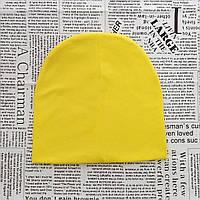 Демисезонная трикотажная шапка детская 4-12 лет Желтый  Оптом