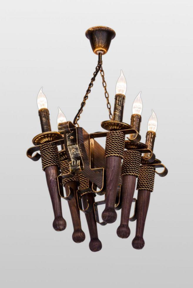 Деревянная люстра подвесная на цепи AR-002827