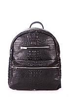 """Рюкзак женский кожаный POOLPARTY Mini черный """"крокко"""""""