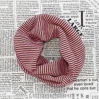 Детский вязаный шарф - хомут Красный с розовым Оптом