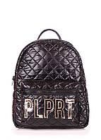"""Рюкзак женский кожаный POOLPARTY Mini черный """"лого"""""""