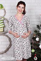 Ночная сорочка для беременных и кормления Alisa, молочная с розовыми цветами