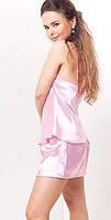 Шелковый комплект, пижама атласная женская: маечка на бретелях и шортики на резиночке. Розница, опт., фото 1
