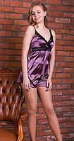 Шелковый комплект с ажуром, пижама атласная женская: маечка на бретелях и шортики на резиночке. Розница, опт.