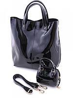 Женская кожаная сумка шоппер лаковая черная