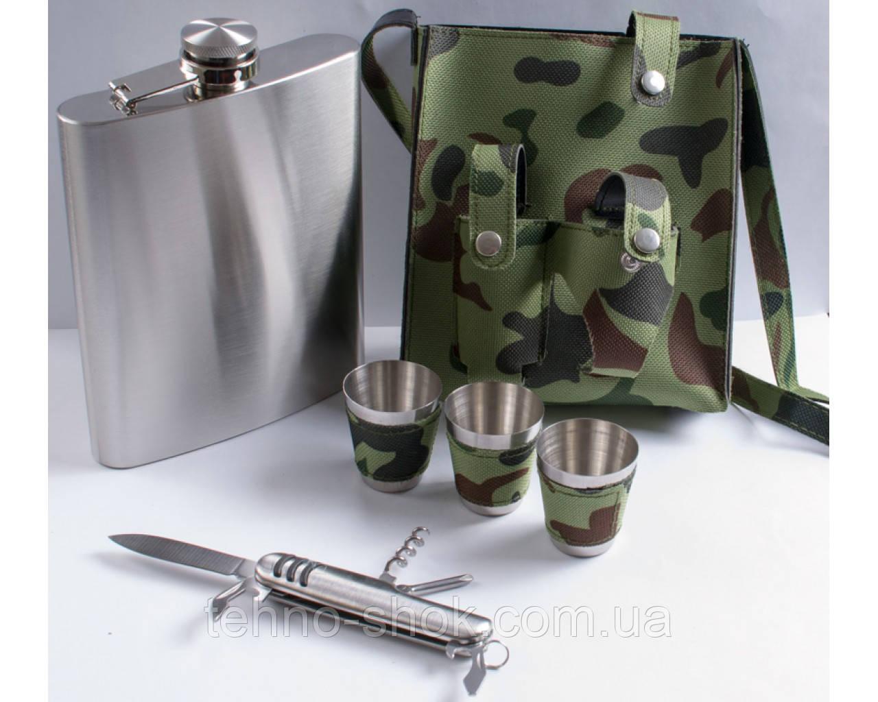 Набор в камуфляжном чехле Фляга, Рюмки, Нож PT18-2