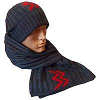 """Вязаная мужская шапка - носок, и шарф с аппликацией """"красные молнии"""""""