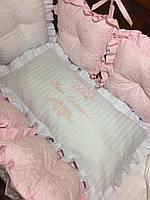 Бортики подушки  в кроватку для девочки розовые
