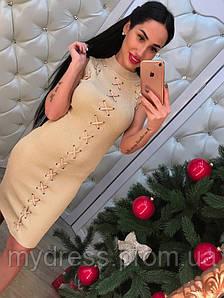 Платье с люрексом шнуровка 366