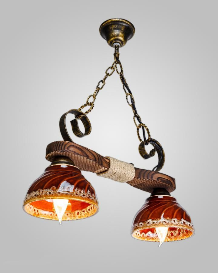 Люстра деревянная AR-003164 плафоны керамика - Setka24 - магазин приятных покупок в Черновицкой области