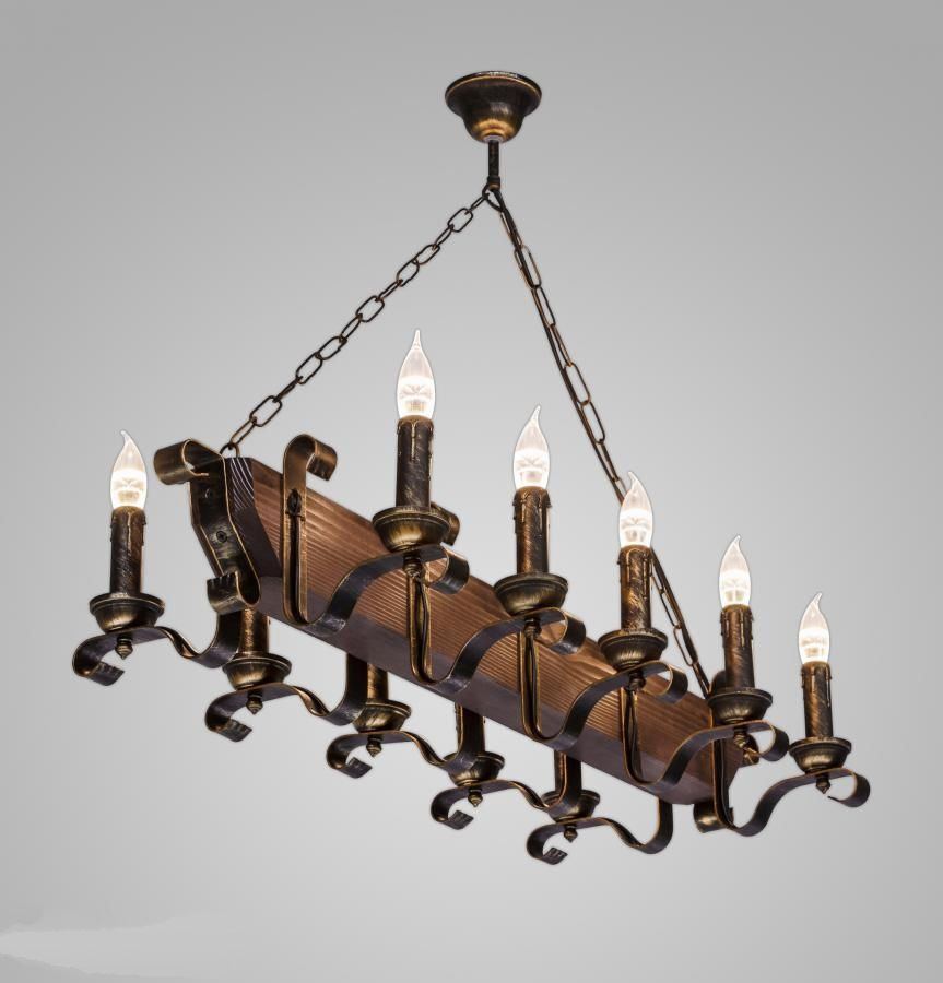 Люстра деревянная на цепи 10 ламп Е14 AR-003061