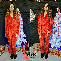 Супер модный женский велюровый костюм в пижамном стиле, красный цвет