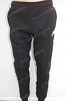 Мужские теплые спортивные штаны  Nike на байке черные на манжетах