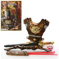 Набор рыцаря 539-A2 лук 50см, стрел-прис 4шт, меч 56см, ножны, колчан, доспехи, на листе, 43-63,5-5см