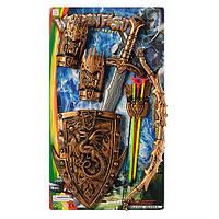 Набор рыцаря ZF6214-K7 щит 28-21см, меч 56см, лук 46см, стрелы-присоски 3шт, на листе, 33-57,5-4см