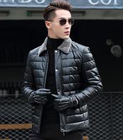 Мужская кожаная куртка Модель 1043, фото 6