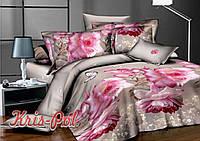 Комплект постельного белья 3D евро, полиэстер. Постільна білизна. (арт.6370)